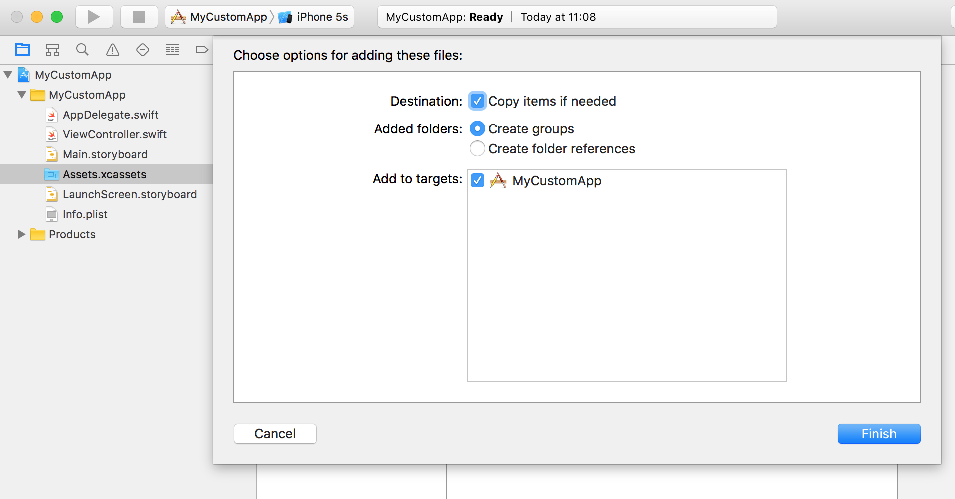 Adding Source Code Files to Xcode
